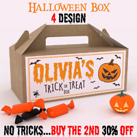 Personalised Halloween Trick or Treat Fun Party Gift Favour Box Party Candy Bag