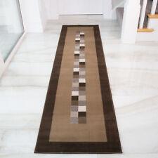 Long Brown Geometric Hallway Runners   Cheap Carpet Runners   Trailer Runner Rug