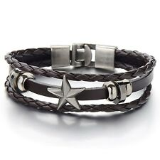 Bracelet Multi-strand Leather Wristband 7.5 Mens Star Brown Braided Leather Wrap