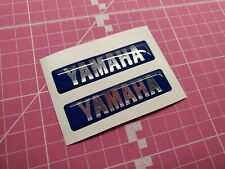 x2 YAMAHA RESIN DOMED STICKERS / DECALS BLUE / SILVER CHROME
