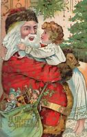 Santa Claus with Baby~Toys~ Tree~Antique~Embossed Christmas Postcard--s962