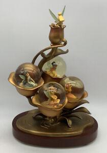 Disney Store Tinker Bell & Fairies Golden Metal Four Fairy Snowglobes Peter Pan
