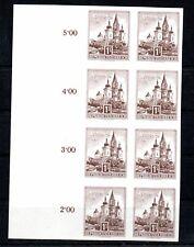 AUSTRIA , 1958 . 1 SCHILLING , BLOCK of 8 , IMPERFORATE PROOF STAMPS , UNUSED