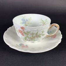 New ListingVintage J. Pouyat Limoges Tea Cup and Saucer Set White Floral Pattern France