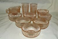 """Anchor Hocking Queen Mary Pink 7 Bowls 4 1/2"""", 2 Flat Waters, 1 Creamer"""