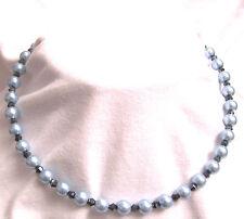 Cadena Perlas acrílico y Crystall - Corte Faceta - PERLA DE CRISTAL - azul 45cm