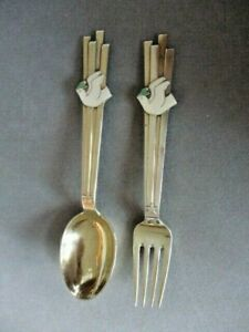A. MICHELSEN 1943 Sterling Silver CHRISTMAS SPOON & FORK