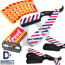 Red White & Blue Barber Pole Hair Shaving Razor Straight Pocket Knife +10 Blades