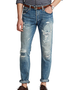 POLO RALPH LAUREN Men's Classic Fit Straight Leg Distressed Blue Jeans NEW NWT