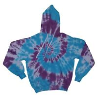 Blue & Purple TIE DYE HOODIE - New Hand Dyed Top Jumper Festival t shirt Unisex