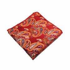 100% Silk Orange Red Paisley Handkerchief Pocket Square Hankie Hanky Wedding
