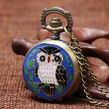 Steampunk Mini Blue Night Owl Children Quartz Pocket Watch Necklace Chain Gift