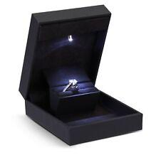 Slim Single Ring Proposal Engagement Box Case LED Light - Black