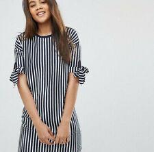 Asos T-Shirt Midi Dress Size 8 Bow Tie Sleeves Blue White Striped Nautical