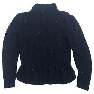 VTG 80s Nannel Beaded Sweater SZ PS Black Hand Knit Heavyweight