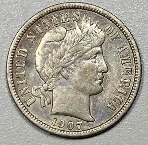 1907-D Barber 10C Silver Dime