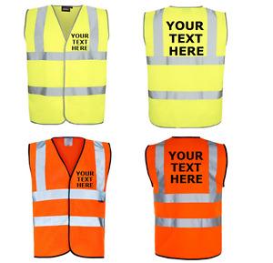 Personalised Printed Hi-Viz VEST High Visibility waistcoat Safety workwear EN471