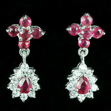 DAZZLING!! NATURAL AAA TRANSLUCENT BLOOD RED RUBY 925 SILVER EARRINGS 1""
