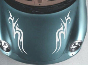 "2 LARGE 23"" car bonnet side stickers tribal flames vinyl graphics decals boat"