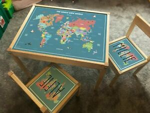 Personalised Children STICKER SET Ikea LATT Wooden Table and 2 Chairs World Map