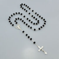Women Catholic Virgin Mary Silver Rosary Necklace Black Crystal Prayer Beads
