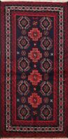 Geometric Tribal Balouch Afghan Oriental Area Rug Hand-knotted Navy Carpet 4'x6'