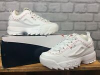 FILA LADIES UK 4.5 EU 38 DISRUPTOR II REPEAT WHITE RED CHUNKY TRAINERS CS