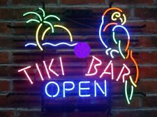 "New Tiki Bar Open Parrot Palm Tree Real glass Neon Sign 32""x24"" Beer Lamp Light"