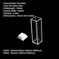 Azzota Q204 10mm Pathlength Standard Fluorometer Cuvettes - 3.5ml Quartz