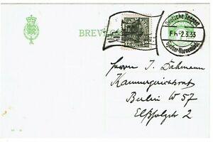Denmark 1937 German Seepost cancel on postal card to Germany