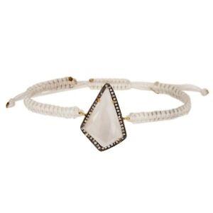 Crystal Quartz Gemstone 925 Silver Bracelet With White Macrame Jewelry
