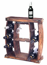 New Vintiquewise Decorative Wooden 8 Bottle Rustic Wine Rack with Glasses Holder