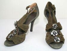 Chanel Olive Green Suede Metal Flower Open Toe High Heel Sample Shoes 38 8