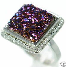 Solid 925 Sterling Silver Purple Square Druzy Cocktail Ring Size 8 '