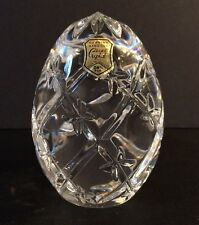 "NWT Cut Crystal Egg Star Burst Design 4-1/2 Tall x 3"" Wide Made In Poland"
