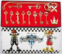 12pcs/Set Kingdom Hearts II KEY BLADE Necklace Pendant+Keyblade+Keychain Gold