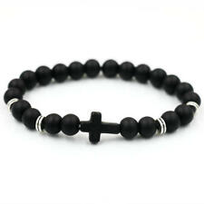 Cross Bracelet Black Onyx Meditation Bead Bracelet