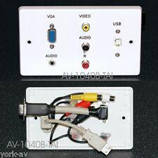 Av Placa De Pared, De Video Vga / Audio De 3.5 Mm / 3 Phono / Usb2 B zócalos a tail-leads
