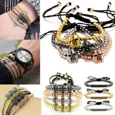 Hot Sale Mens Bracelet 24kt Gold Plated Micro Pave Zircon Cube Macrame Bracelets