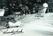 Paddy Hopkirk Hand Signed Mini-Cooper 12x8 Photo.