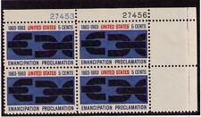 US USA Sc# 1233 MNH FVF PLATE # BLOCK Emancipation Proclamation Chain Link