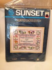 SUNSET Counted Cross Stitch TO LOVE AND TO CHERISH Wedding Record Flowers New