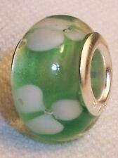 Mint Green Clover Flowers Lampwork Glass Bead for Silver European Charm Bracelet