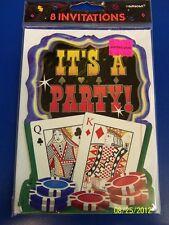 Texas Hold 'Em Casino Night Cards Poker Prom Theme Party Invitations w/Envelopes