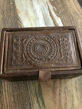 Vintage Genuine Leather Aztec Mexican Jewelry Trinket Box Mayan Inca