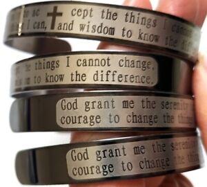 12pcs Serenity Prayer Cuff Stainless steel Bracelets Wristbands Mens Bangles