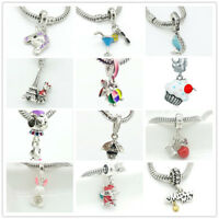 European 1pcs Charm CZ Beads Fit 925 silver Necklace Bracelet  Pendant Chain #1