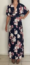 NEW SHEIKE 'Isabelle' Navy Blue Floral Print Kimono Maxi Dress Sz AU 8 RRP $160