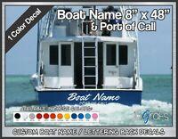"Custom Boat Name & POC Decals 8"" x 48"" 1 Color"