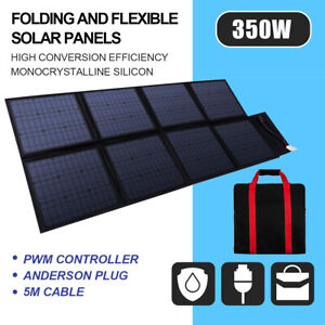 12V 350W Folding Solar Panel Mat Kit Mono Blanket Camping Battery Charge Power